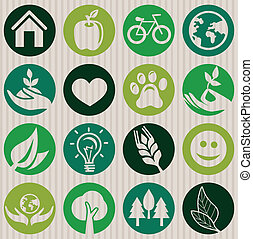 Vector green seamless pattern with ecology signs and symbols