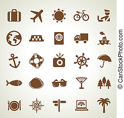 Vector travel icons - vacation signs and symbols