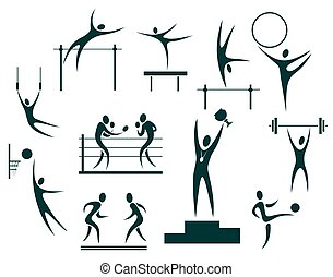 sport symbols set - Stylized sportsmen isolated on a white...