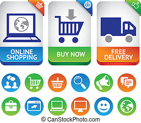 Vector design elements for internet shopping - icons and...
