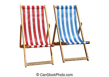 Colorful deckchairs - Two colorful deckchairs, isolated on a...