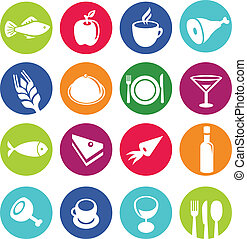 Vector set or restaurant icons and food - pictograms on...