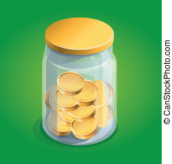 Vector moneybox with golden coins on green background