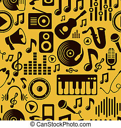 music seamless pattern with icons and pictograms - raster...