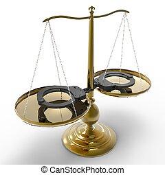 Justicia, esposas, escalas