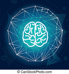 Vector creativiy concept - brain illustration on blue...