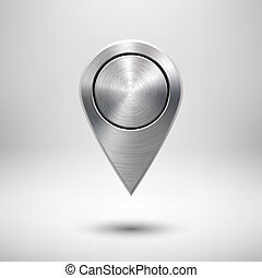 Technology Map Pointer Button with Metal Texture -...