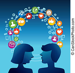 Social media concept with man and woman profiles - vector...