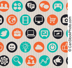seamless pattern with internet icons - Vector seamless...