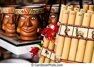 Authentic south american panflutes  in local market in Peru.