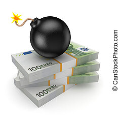Black bomb on a stack of euro.