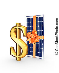 Solar battery and symbol of dollar.Isolated on white.3d...
