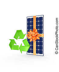 Solar battery and symbol of recycle.Isolated on white.3d...