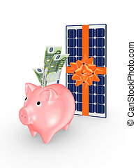 Solar battery and pink piggy bank.Isolated on white.3d...