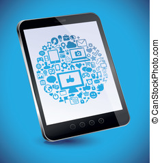 ablet pc with social media concept - Vector tablet pc with...