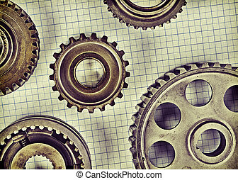 Old gears on graph paper