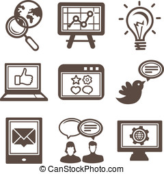 Vector internet and technology icons - set of pictograms