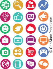 Vector internet and technology icons - set of bright...
