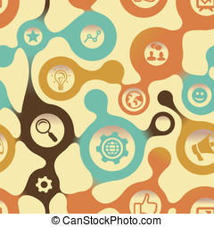 Vector social media pattern with intenet icons - abstract...