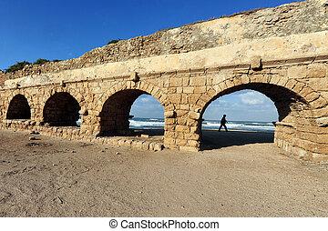 Caesarea Maritima - Israel - CAESAREA - DEC 13:Visitor at...