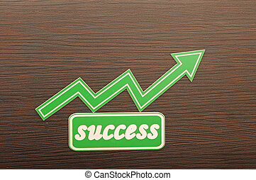 Business chart on blackboard showing success