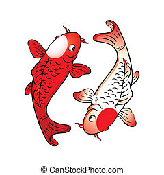 Fish yin yang - Koi fishes yin yang with japanese flag...