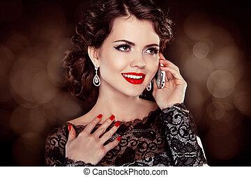 mulher, móvel, lábios, jovem, falando, morena, telefone, Retrato, modelo, moda, vermelho, Feliz