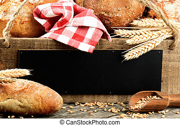 Traditional bread and rustic wooden board