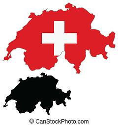 Switzerland map flag