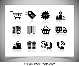 Shopping icons - Set of simple black Shopping icons Vector...
