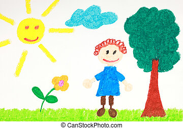 Kiddie style drawing of a flower, tree and child on a green...