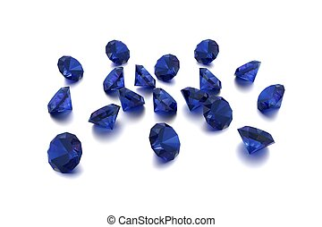 3D Sapphire - 18 Blue Gems - White Background