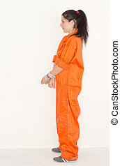 Female convict - Convict woman in handcuffs and orange...