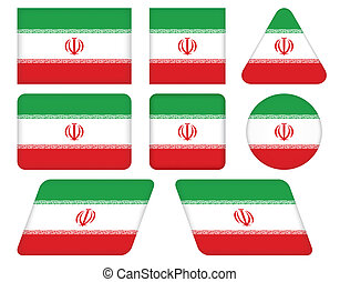 buttons with flag of Iran
