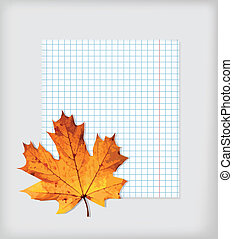 Maple leaf and writing-book - The maple leaf lies on a...