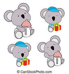 koala baby diaper cartoon set in vector format very easy to...
