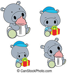 hippo baby diaper cartoon set in vector format very easy to...