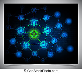 Security concept. Abstract dark background. Vector...