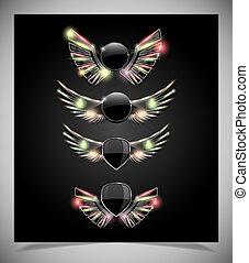 Metal Shield emblem with glass wings.