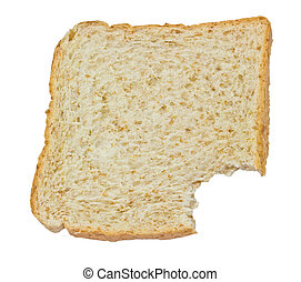 eating slices of bread on a white background