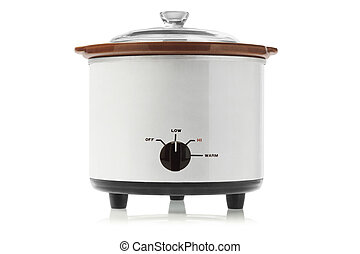 Electric Slow Cooker On White Background