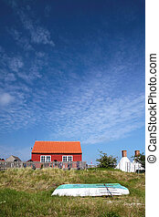 Red holiday cottage on Bornholm, Denmark