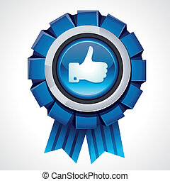 Vector like sign on glossy award icon - social media sign...
