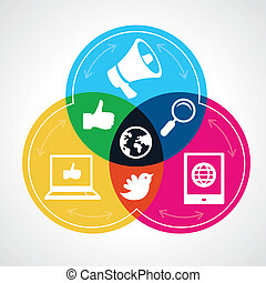 Vector social media concept - abstract illustration with...