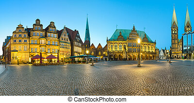 Panorama of Bremen Market Square - Panoramic view of the...
