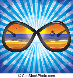 Sunglasses with beach reflection blue backgrouns