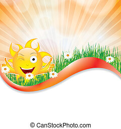 Sunny summer background with sunlight and flowers