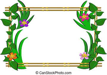 Wooden Frame with Tropical Plants