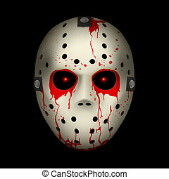 Hockey mask - Bloody Hockey Mask Illustration on black...