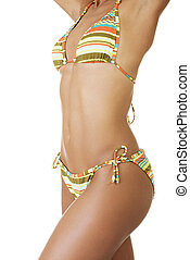 Tanned woman body in bikini. - Tanned fit woman body in...
